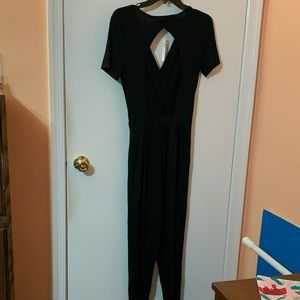 ASOS NWT Black Petite Jumpsuit with Back Cut Out